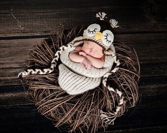 Crochet Owl Hat Photo Prop. Baby Owl Hat