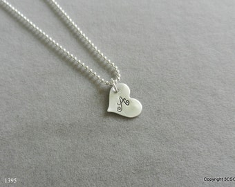 Sterling silver Heart Necklace Hand stamped with your choice of Initial