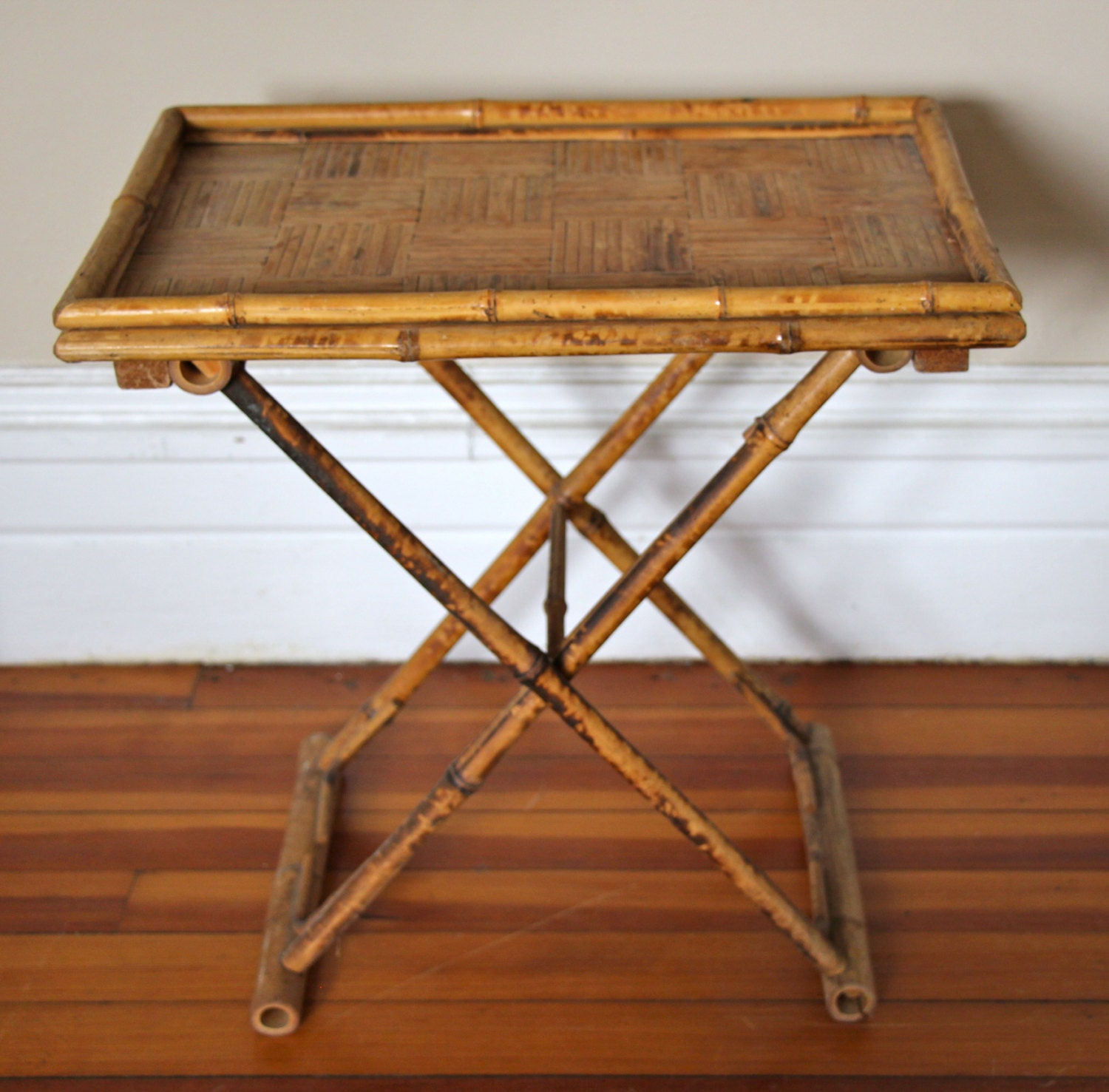 Vintage Bamboo Folding Tray Table