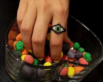 Custom Beaded Green Eye Ring - Black Band