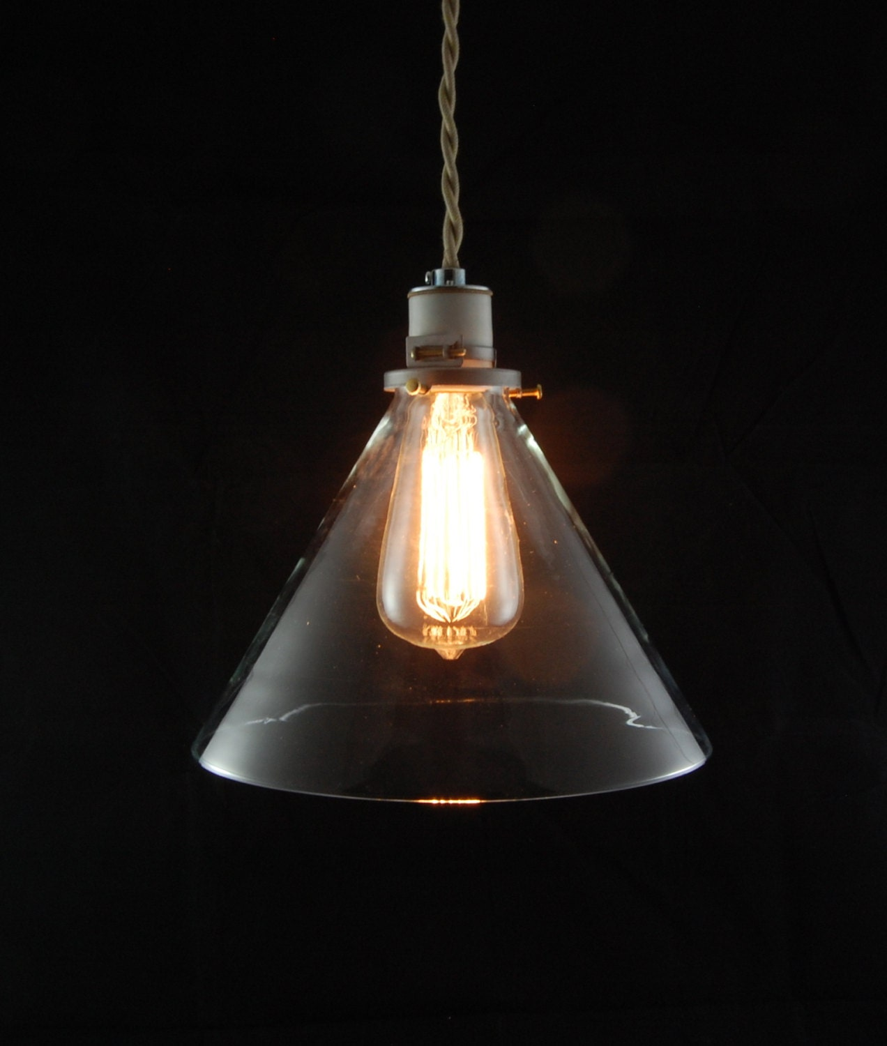 Items Similar To Deep Cone Pendant Light, Hanging Light