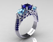 Classic 10K White Gold Three Stone Blue Sapphire Aquamarine Solitaire Ring R200-10KWGBSAQ