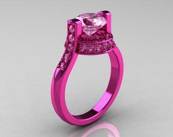 Modern Italian 14K Pink Gold 1.5 CT Light Pink Sapphire Wedding Ring, Engagement Ring AR119-14KPGLPS