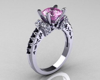 Modern Armenian Classic 18K White Gold 1.5 Carat Light Pink Sapphire Black and White Diamond Solitaire Wedding Ring R137-18WGDBDLPS