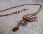 Turquoise Skies Glass Copper Photo Necklace