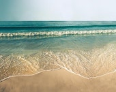 Nautical decor beach photography vintage inspired coastal print 12x12 16x16 20x20 beach scene large photography prints teal waves summer