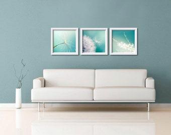 Dandelion photography print set  4x4 5x5 inch Fine art botanical photography nature photography summer teal blue wall art nursery