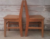 Vintage Childs Wood Chair - Sturdy Oak Kids Chair, Antique Oak Chair, Playroom Furniture, ONE Childs Chair, Home Decor, Vintage Furniture