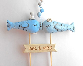 BLUE Closed eye Kissing Fish wedding cake topper for your beach wedding as seen in Real Maine Weddings magazine