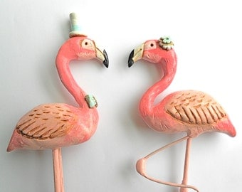 Pink Flamingos in Love Wedding cake topper Rustic Wedding as seen in Bride To Be Australia magazine