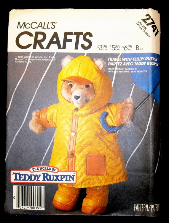 Vintage McCalls Craft Sewing Pattern 2741 Teddy Ruxpin Rain Coat and Hat Outfit