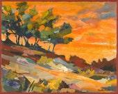 Trees at Sunset Original Painting