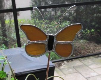 Amber Wispy Translucent Glass Butterfly - Stained Glass 5 Piece- Garden - Potted Plant Stake