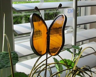 Amber and White Wispy Translucent Glass Butterfly - Stained Glass -  Garden/Potted Plant Stake