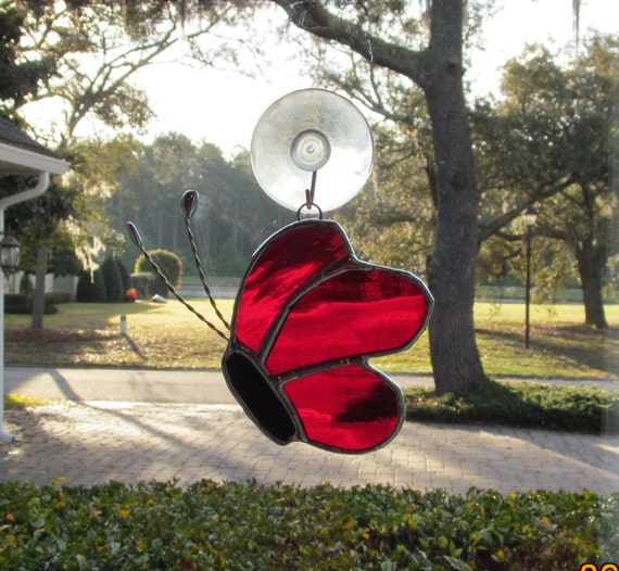 """Scarlet Red Waterglass Stained Glass Butterfly 4.5"""" x 3"""" Suncatcher from Side view"""