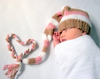 Newborn girl light pink, light brown, and white photo prop knitted hat - IN STOCK