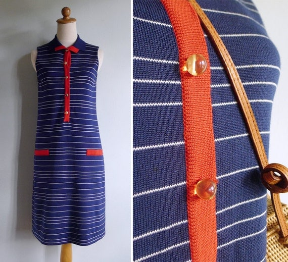 Vintage 70's Preppy Nautical Navy Striped Collared Knit Shift Dress XS or S