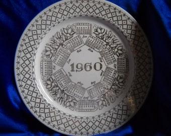Plate,  10 1/4 inch Calendar 1960 Plate