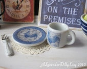 Blue Toile Country Rooster Coffee Mug and Plate for Dollhouse