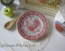 Red Country Rooster Plate for Dollhouse