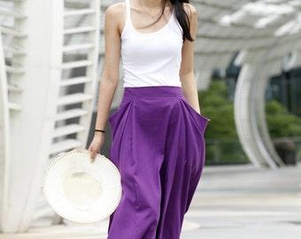 Lagenlook Hot Maxi Skirt Unique Long Skirt Big Pockets Summer Skirt In Purple- NC144