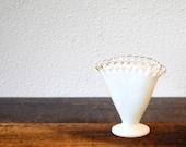 Fenton Art Vase Silver Crest White Milk Glass Fan, Crimped Crystal Trim