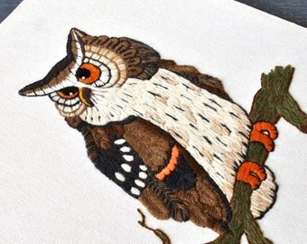 Vintage Owl Crewel Embroidery, Large Wall Art to Frame or Pillow Needlework Linen Sewing Supply