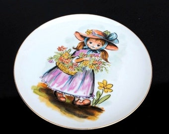 Vintage Girls Room Decor Collector Plate Wall Hanging, Little Country Girl in Bonnet Gathering Flowers