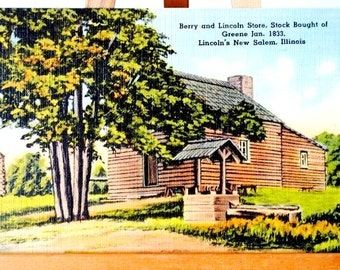 Lincoln Berry Store New Salem Illinois State Park Postcard, 1940s Linen Unused Post Card