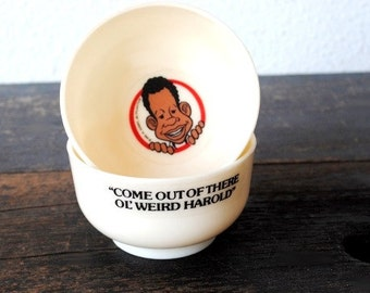 1976 Fat Albert Toy Cereal Box Mini Bowl, Weird Harold Cosby Kids Cartoon Promotional Advertising