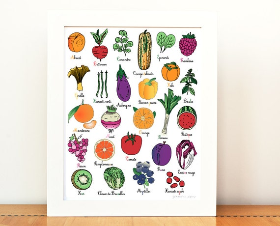 Nursery ABC in French 8x10 art print alphabet fruit vegetable | Etsy