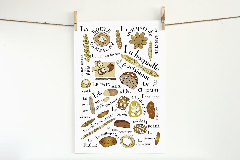 Küche Kunst Poster Französisch Brot Art Print Home