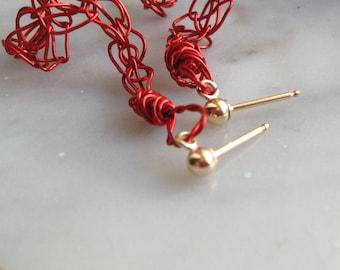 Red Spiral Earrings Mini Spiral Knit Wire Earrings Lightweight Colorful Earrings