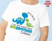 Dinosaur Big Brother Shirt or Bodysuit Dino-Mite I'm the World's Best Big Brother Shirt - Baby Shower Gift - Gender Reveal Idea