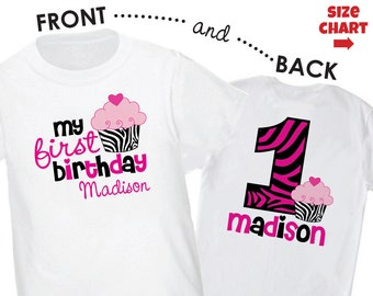 Zebra 1st  Birthday Shirt or Bodysuit (Front/Back Shirt) - Personalized Birthday with Child's Name & Age