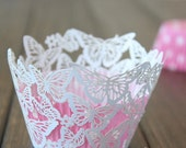 Butterfly cupcake wrapper, laser cut cupcake liner - 60pcs