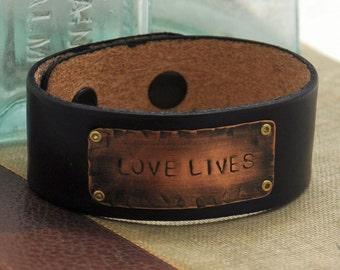 Leather Bracelet Cuff, Hand Stamped Copper Bracelet, Love Lives bracelet, Personalized Hand Stamped Jewelry, Custom Quote Bracelet, Rustic