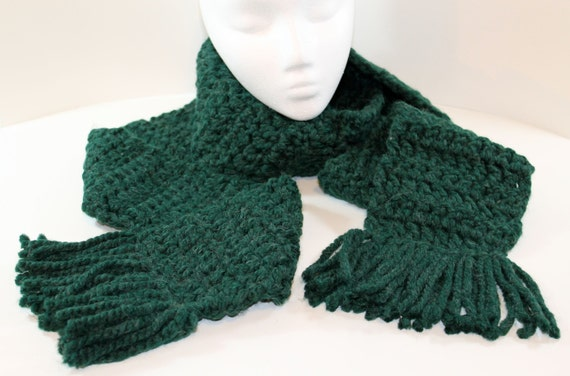 Extra long crochet scarf with tassels: green, for women or men