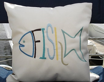 Sunbrella FISH Embroidered Pillow, Canvas Pillow, FISH Canvas Pillow, Indoor/Outdoor Pillow, Natural Canvas Pillow Cover