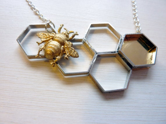 Honey Bee Necklace - Honeycomb Necklace with Bumble Bee by Weirdly Cute Jewelry