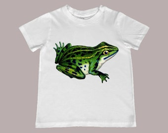 Vibrant Vintage Frog kids TShirt - t-shirt color choice, personalization available - Infant, Toddler, Youth sizes