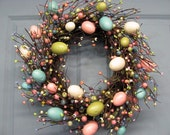 PRE-ORDER  - Spring Wreath - Easter Wreath - Pastel Spring EGG Mix Pip Berry Wreath  - Primitive Wreaths - Easter Home Decor - Egg Wreath