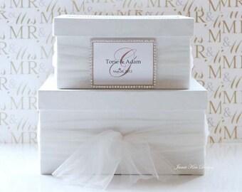 Wedding Card Box Money Box Gift Card Box with Rhinestones around the card slot