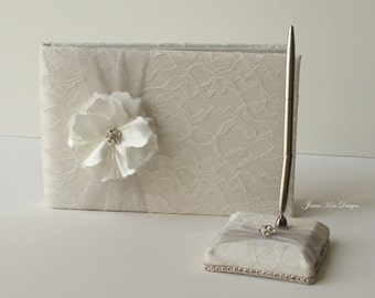wedding guestbook/ sign in book and pen set