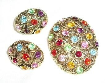 Dazzling Brooch & Earrings - Multiple Colored Sparkling Rhinestones