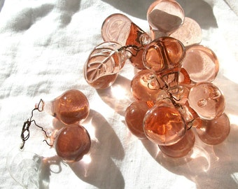 PINK - Glass - Grapes Vintage Shabby - Cottage - Romantic Dreamy Chic Décor