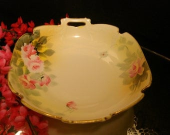 NIPPON Dish, Hand Painted, OLD HALLMARK, Pink Roses, Gold Edge, Handled, Shabby Chic, Country Home, Victorian Decor