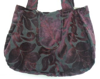 Bohemian Gypsy Bag Purse Italian Burgundy Cut Velvet