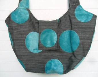 Hippie Bohemian Weekender Bag Purse Aqua Cut Velvet