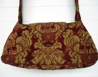 Bohemian Gypsy Bag Purse Burgundy/Deep Red Cut Velvet